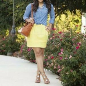 Forever 21 Yellow A Line Mid Rise Mini Skirt